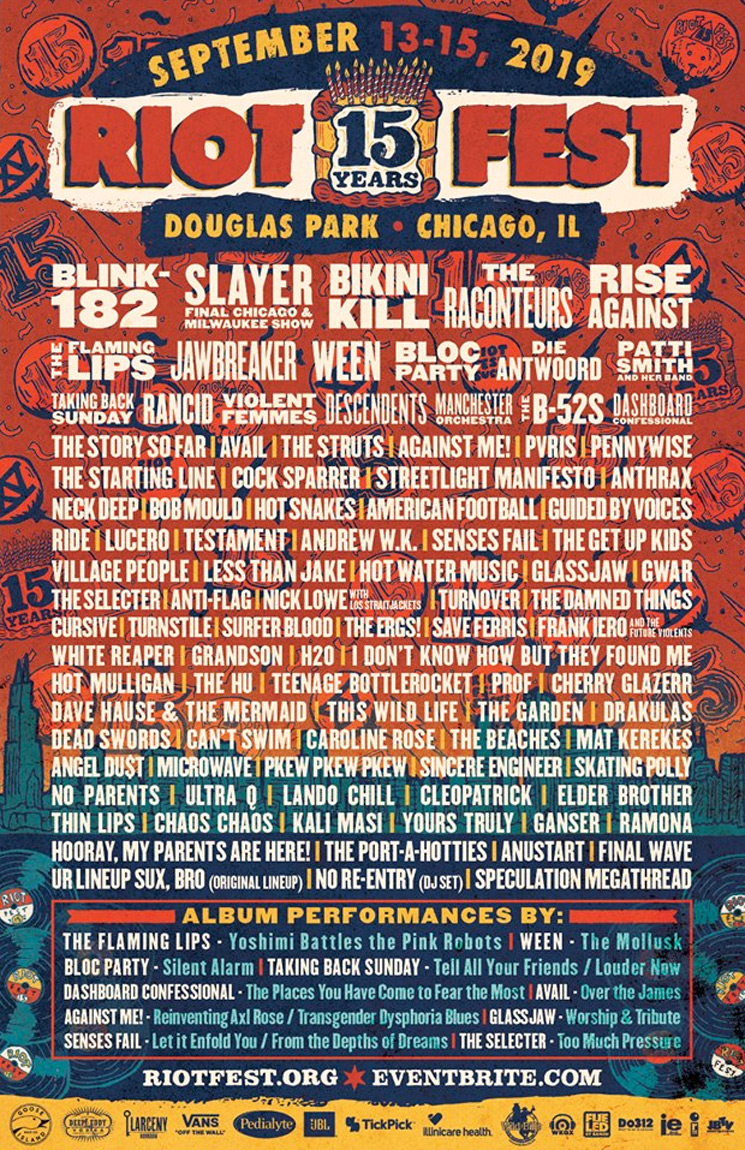 Riot Fest Chicago Unveil 2019 Lineup with Blink-182, Slayer, Bikini Kill
