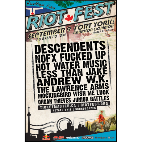 Riot Fest Heads to Toronto with the Descendents, NOFX, Fucked Up, Hot Water Music, Andrew W.K.