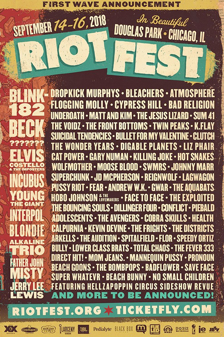 Riot Fest Announces 2018 Lineup with Blink-182, Beck, Interpol
