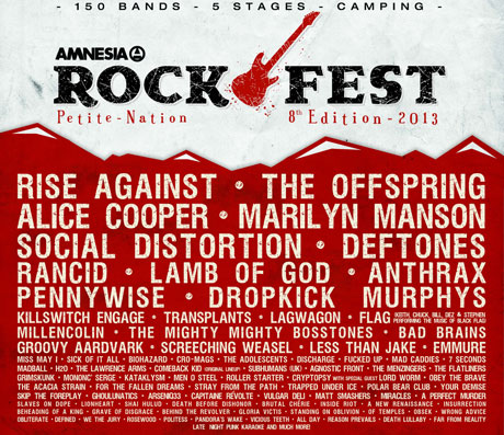 Amnesia Rockfest Announces 2013 Lineup with Rise Against, Deftones, Lamb of God, Marilyn Manson, Social Distortion