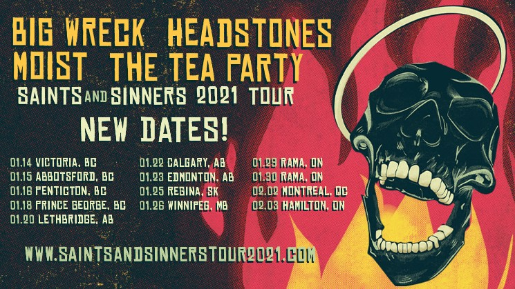Big Wreck, Headstones, Moist and the Tea Party Reschedule 'Saints and Sinners' Canadian Tour