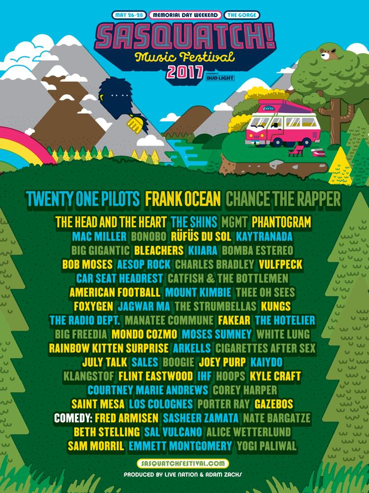 ​Twenty One Pilots, Frank Ocean, Chance the Rapper to Headline Sasquatch 2017