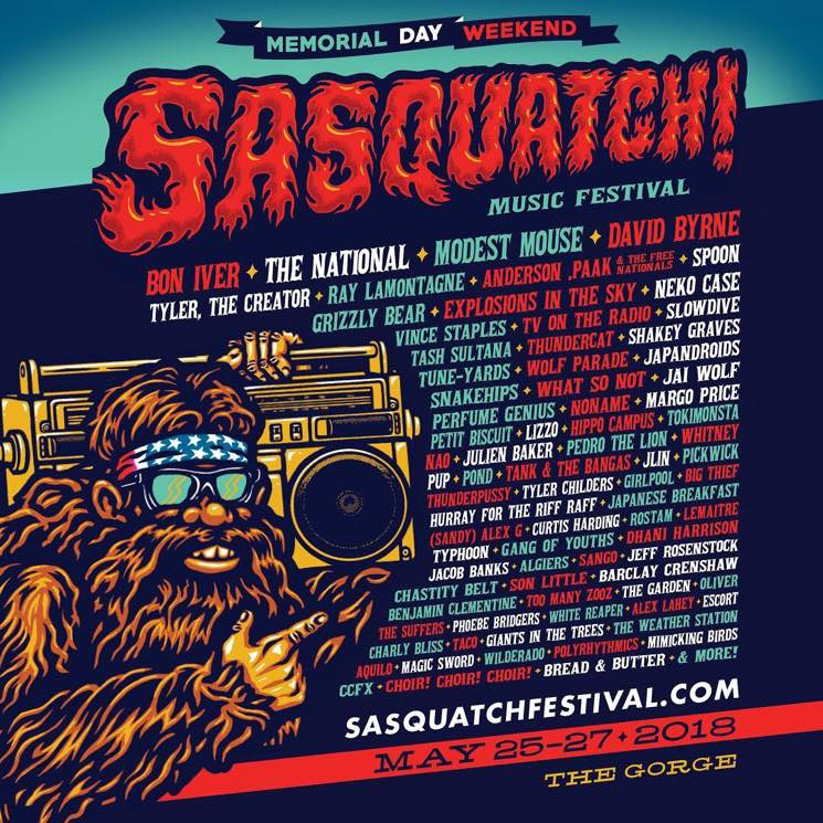 ​Sasquatch! Music Festival Reveals 2018 Lineup with Bon Iver, the National, Modest Mouse