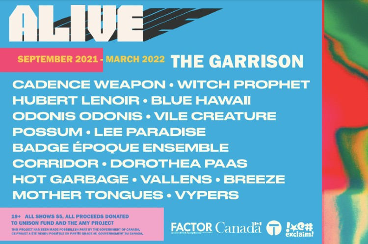 Toronto's Garrison Gets Cadence Weapon, Witch Prophet, Possum for 'ALIVE' Concert Series