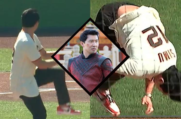 Watch Simu Liu Land a Backflip After Throwing an MLB First Pitch