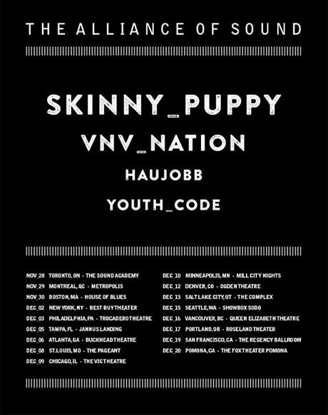 "Skinny Puppy Take VNV Nation, Haujobb and Youth Code on ""The Alliance of Sound"" North American Tour"