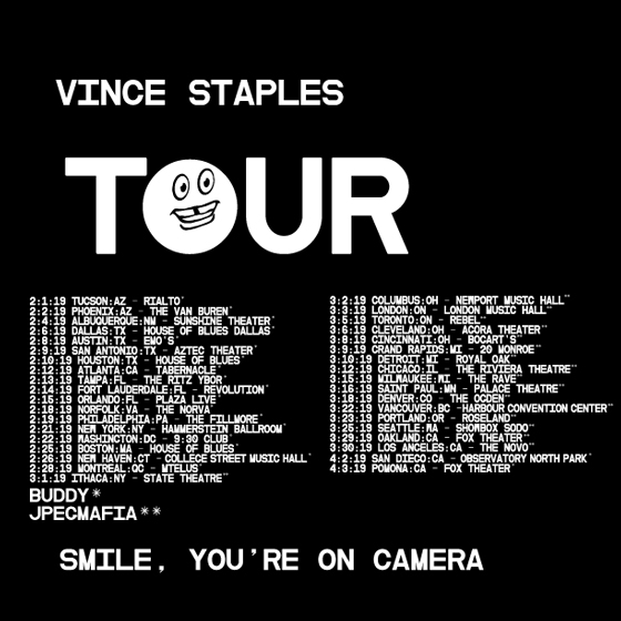 "Vince Staples Plots ""Smile, You're on Camera Tour"""
