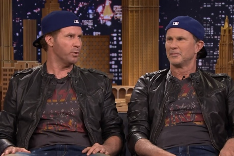 Red Hot Chili Peppers Will Ferrell drum-off / 'Give It Away' / 'Standing on the Verge of Getting It On' (live on 'Fallon')