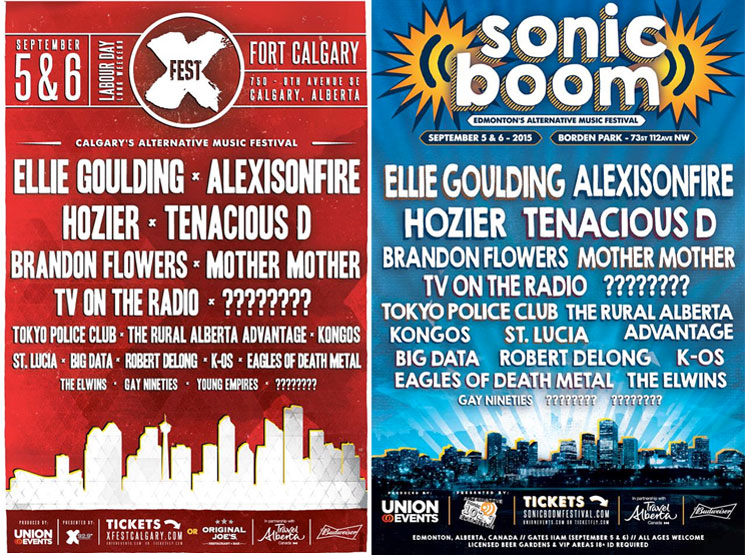 Alberta's X-Fest and Sonic Boom Reveal 2015 Lineups