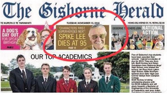 Spike Lee Mistaken for Stan Lee and Pronounced Dead by New Zealand Newspaper