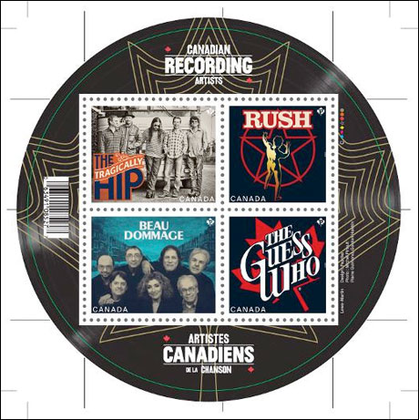 Rush, the Tragically Hip, the Guess Who and Beau Dommage Honoured with New Canadian Stamps