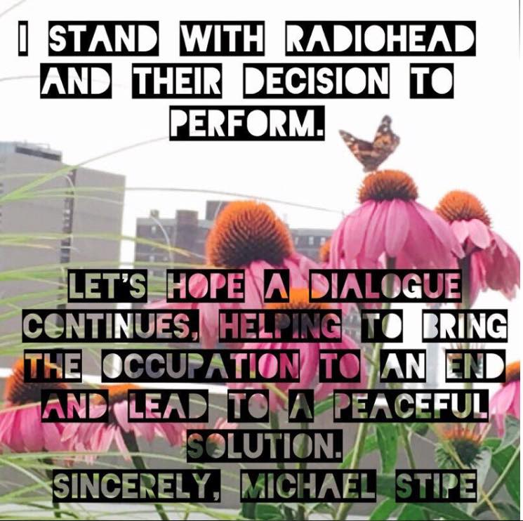 ​R.E.M.'s Michael Stipe Supports Radiohead Decision to Play Israel