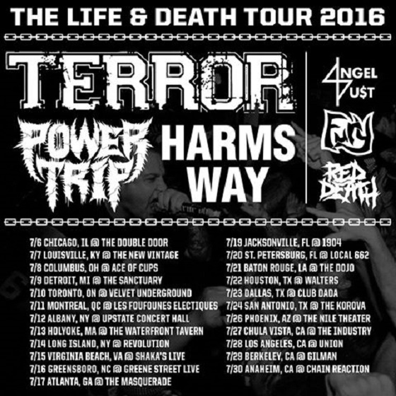 "Terror Head Out with Power Trip, Harms Way for ""Life & Death Tour"""