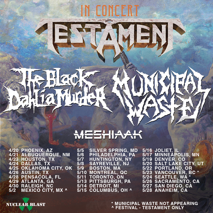Testament, the Black Dahlia Murder and Municipal Waste Play Canada on North American Tour