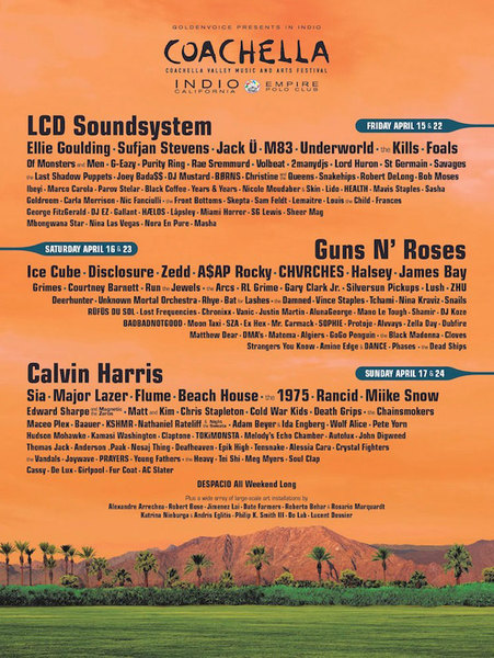 Coachella Shares Lineup, Confirms Guns N' Roses and LCD Soundsystem as Headliners