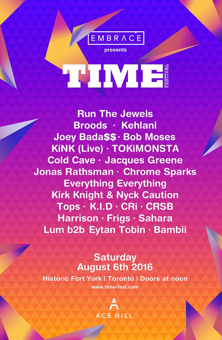 Toronto's TIME Festival Unveils 2016 Lineup with Run the Jewels, Joey Bada$$, TOKiMONSTA