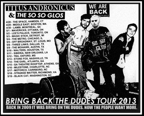 "Titus Andronicus Announce ""Bring Back the Dudes Tour"" with the So So Glos"