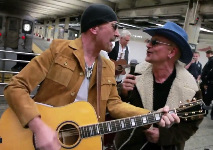 U2 42nd Street Station Busking Performances (live for 'Fallon')