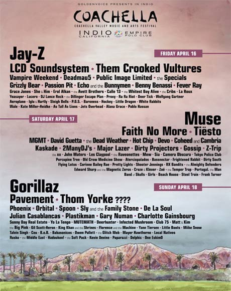 Pavement, Jay-Z, Faith No More and Thom Yorke Lead Coachella 2010 Line-Up