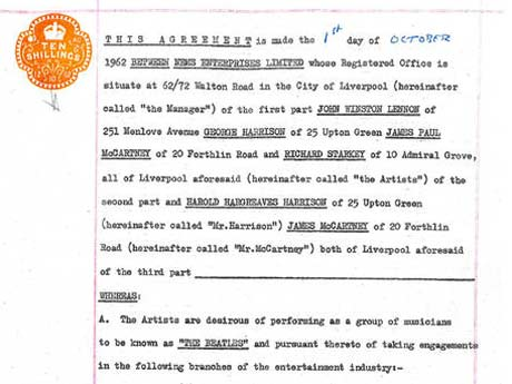 Original Beatles Contract with Brian Epstein Will Go to One Lucky Contest Winner