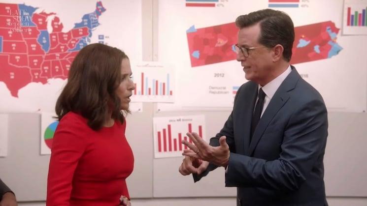 Stephen Colbert Visits 'Veep' and Begs Selina Meyer to Stop