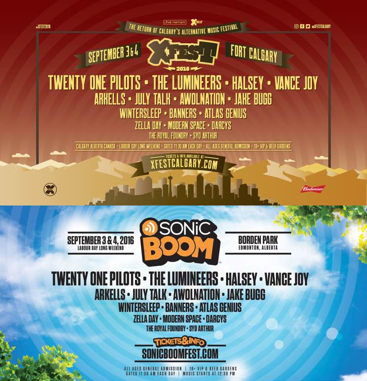 Alberta's X-Fest and Sonic Boom Announce 2016 Lineups