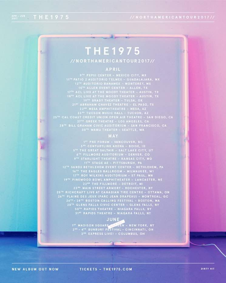 The 1975 tour dates in Perth