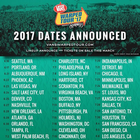 Warped Tour Will Skip Canada Again in 2017