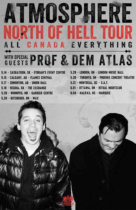 Atmosphere's North of Hell Tour kicks off in Saskatoon on May 14 [News] - HipHopCanada.com