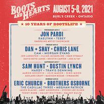Boots and Hearts Announces 2021 Lineup with Sam Hunt, Dan + Shay, Eric Church