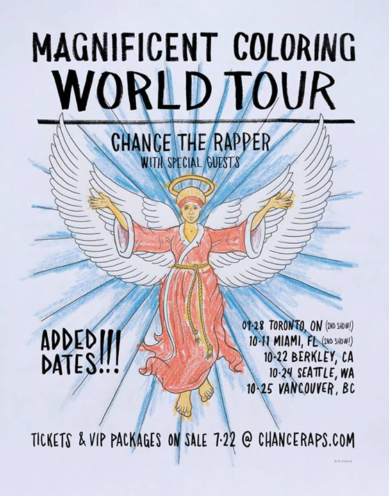 Coloring Book Release Date Adds Toronto And Vancouver Dates To Quot Magnificent World Tour