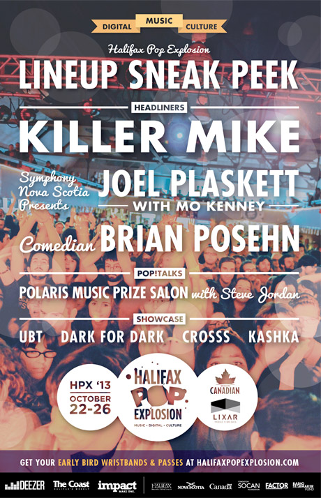 Halifax Pop Explosion Announces Initial Lineup with Killer Mike, Joel Plaskett, Brian Posehn