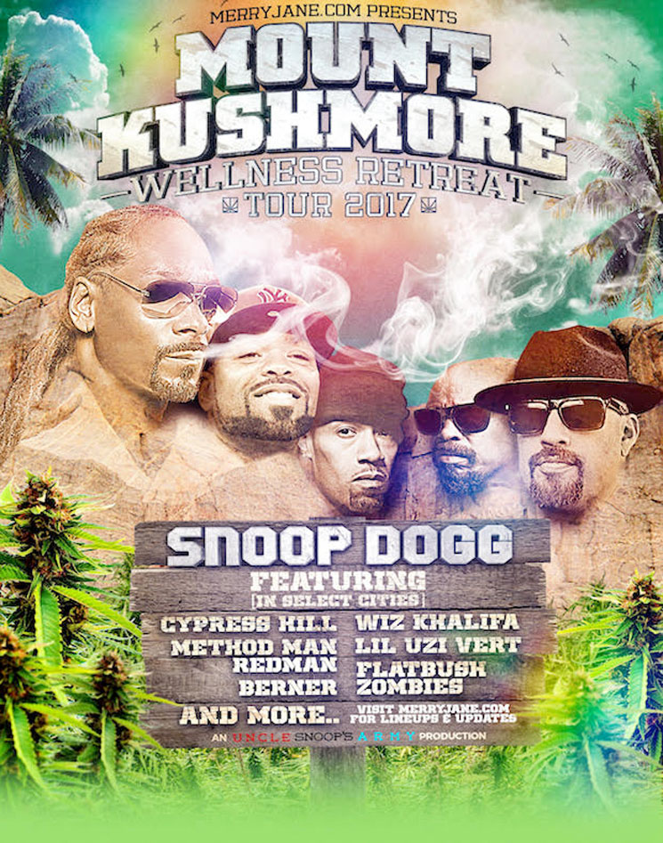 "Snoop Dogg Announces ""Mount Kushmore Wellness Retreat Tour"" with Wiz Khalifa, Cypress Hill, Method Man & Redman"
